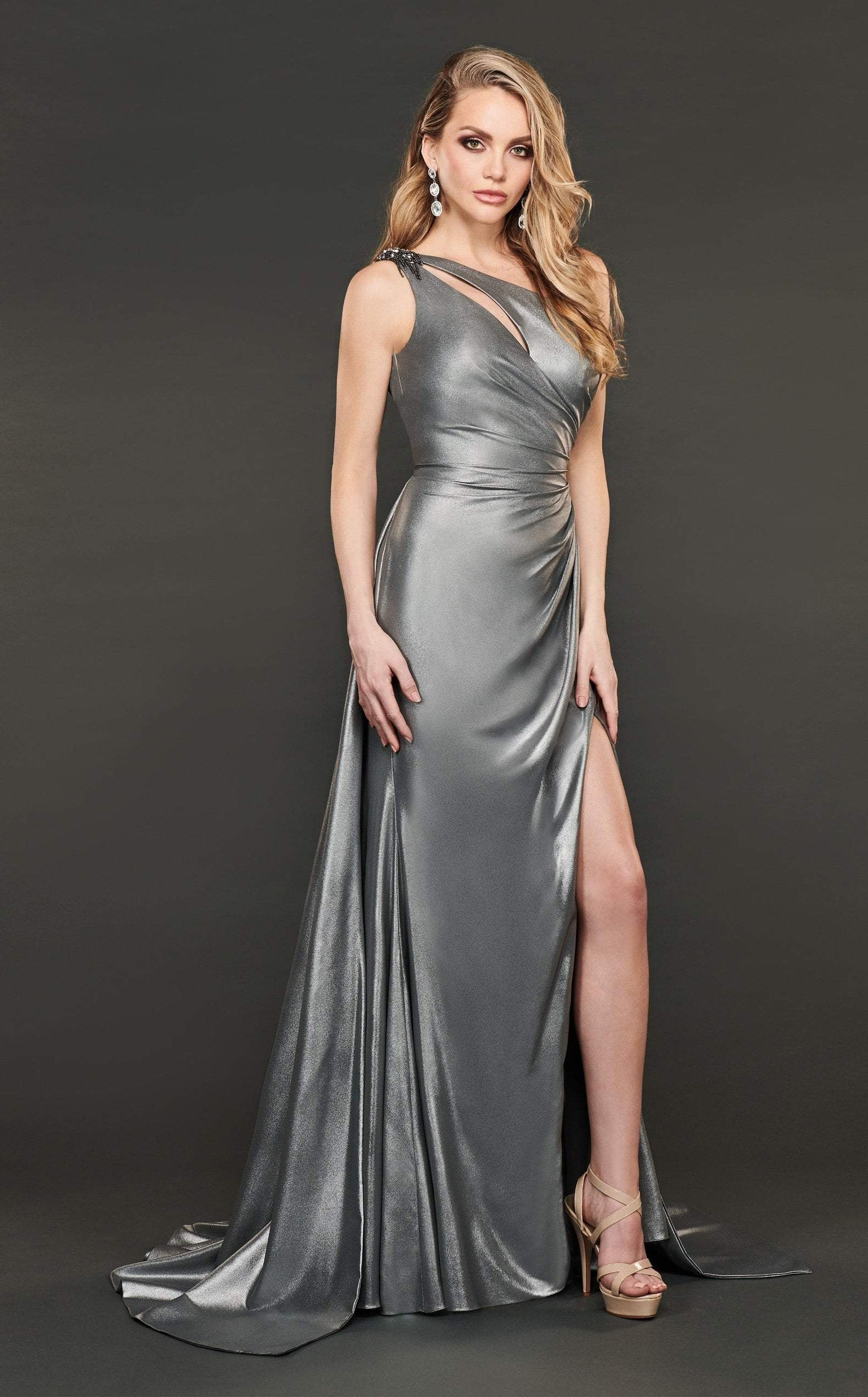 Rachel Allan Couture - 8406 Embellished One Shoulder A-line Dress In Gray