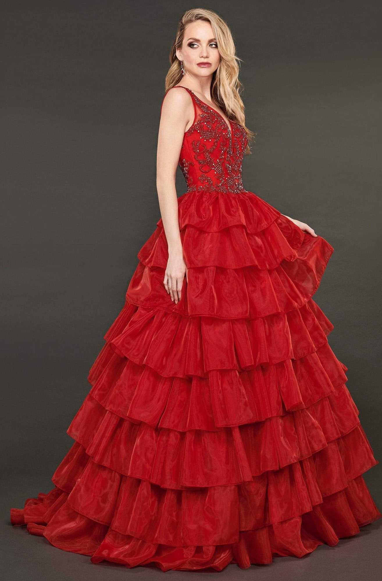 Rachel Allan Couture - 8407 Bead Embellished Ruffled Ballgown In Red