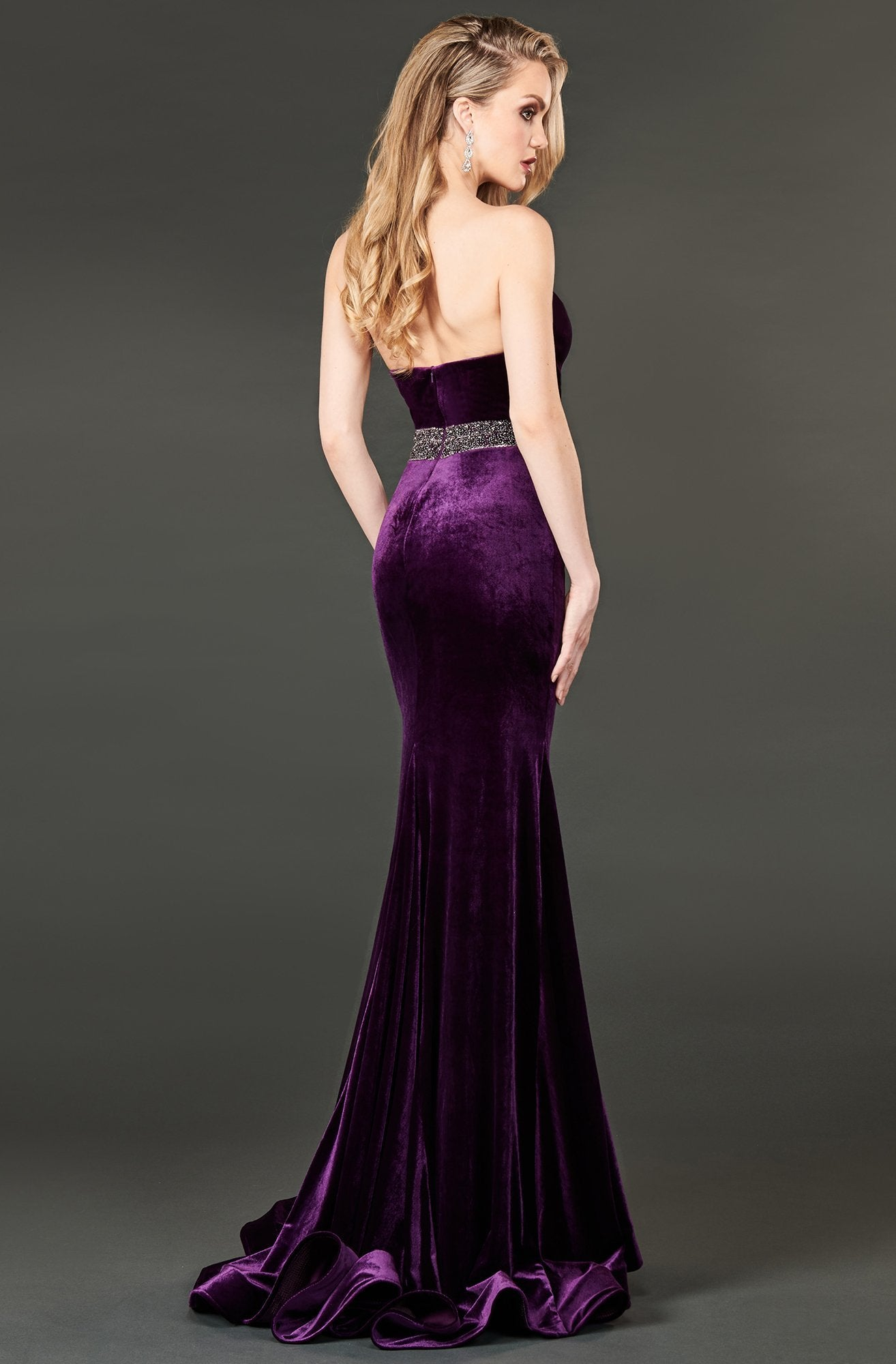 Rachel Allan Couture - 8409 Plunging V-Neck Trumpet Gown with Slit In Purple