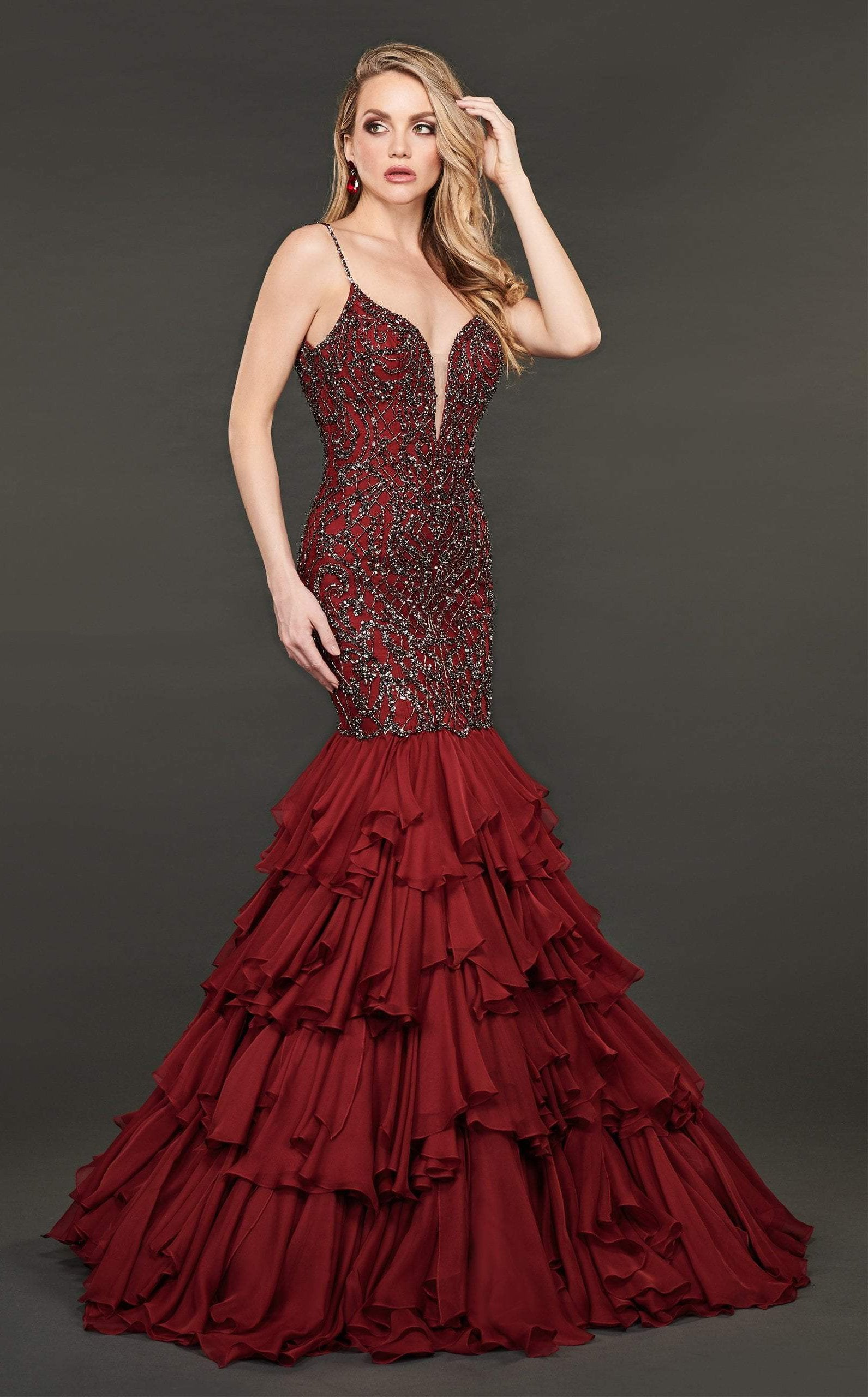 Rachel Allan Couture - 8414 Embellished Deep V-neck Mermaid Dress In Red and Gray