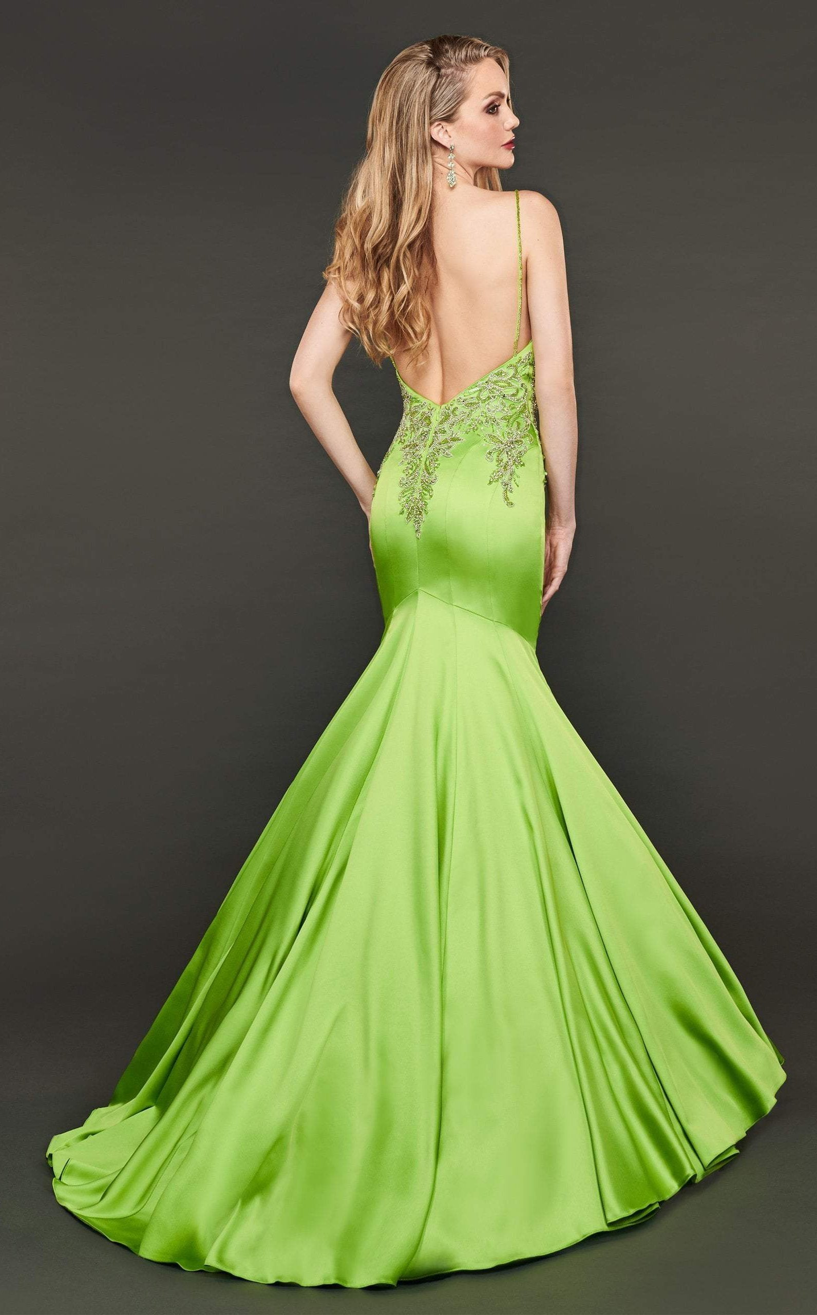 Rachel Allan Couture - 8416 Beaded Stretch Satin Mermaid Gown In Green