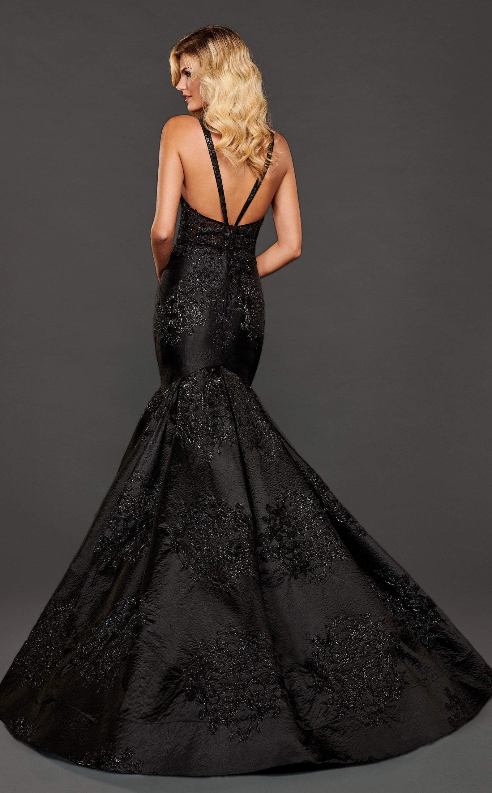Rachel Allan Couture - 8417 Lace Appliqued Trumpet Evening Gown In Black and Gray