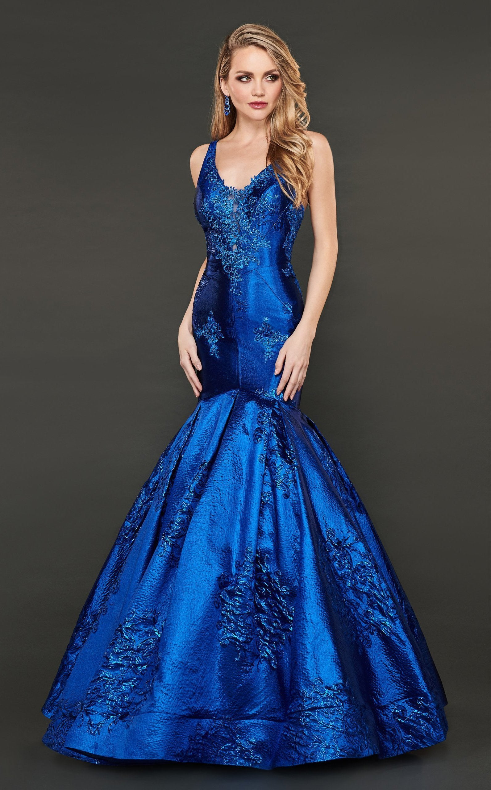 Rachel Allan Couture - 8417 Lace Appliqued Trumpet Evening Gown In Blue