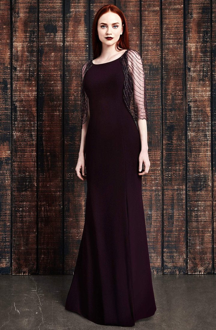 Alexander By Daymor - Embellished Cape Fitted Evening Dress 861 In Purple