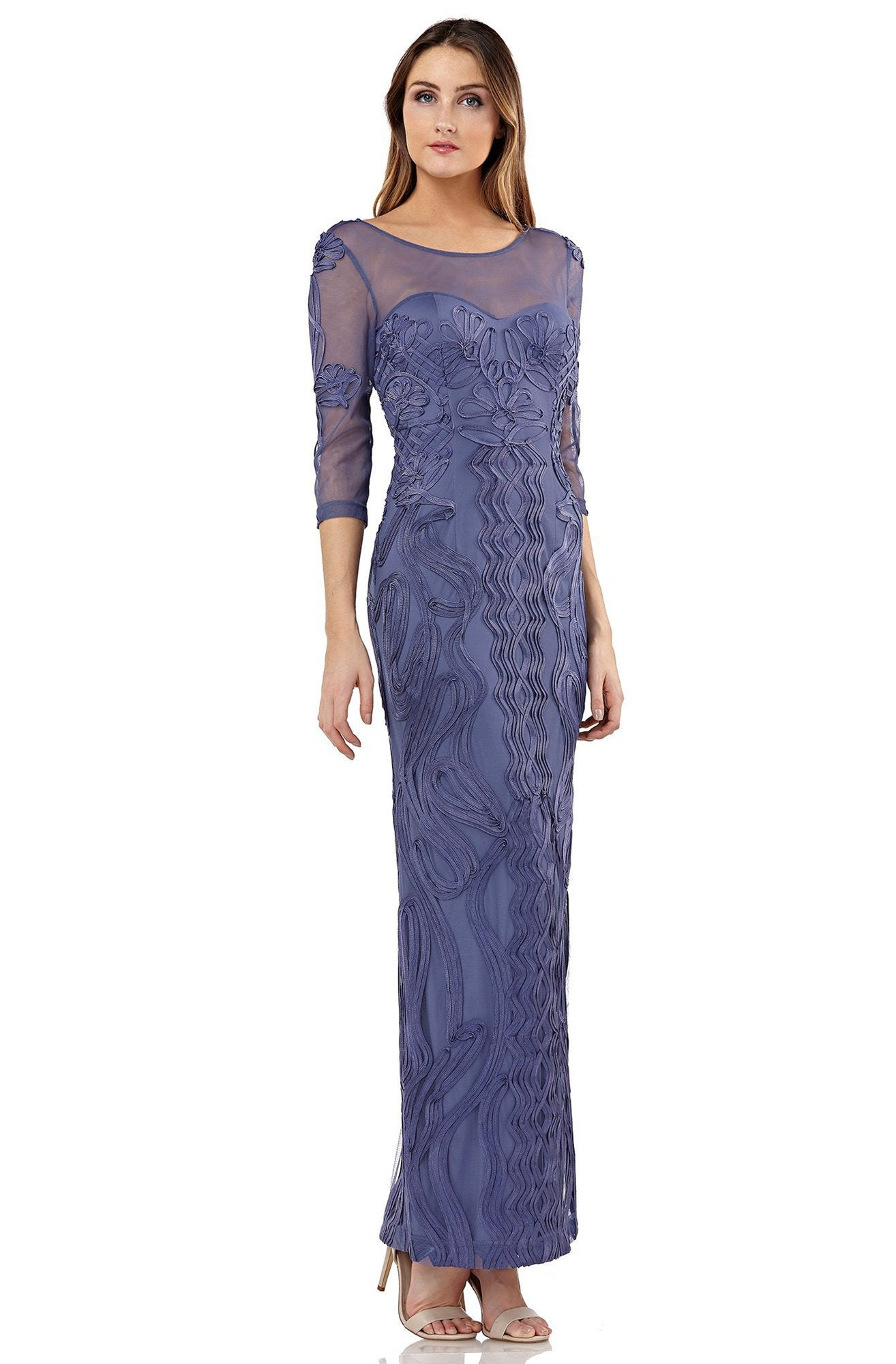 JS Collections - 866071 Embroidered Soutache Long Column Dress In Purple