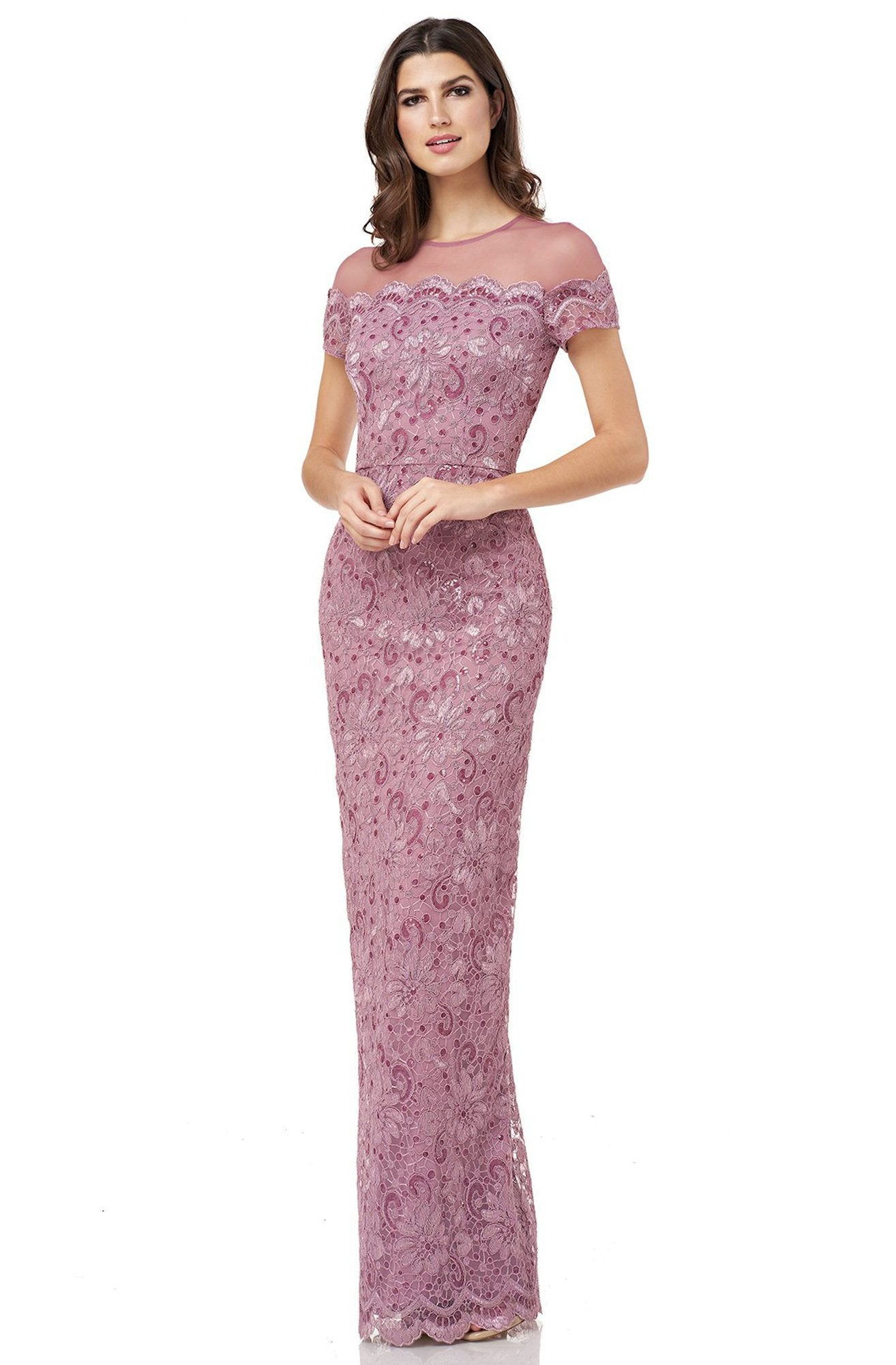 JS Collections - 866648 Illusion Floral Lace Embroidered Mesh Dress In Pink