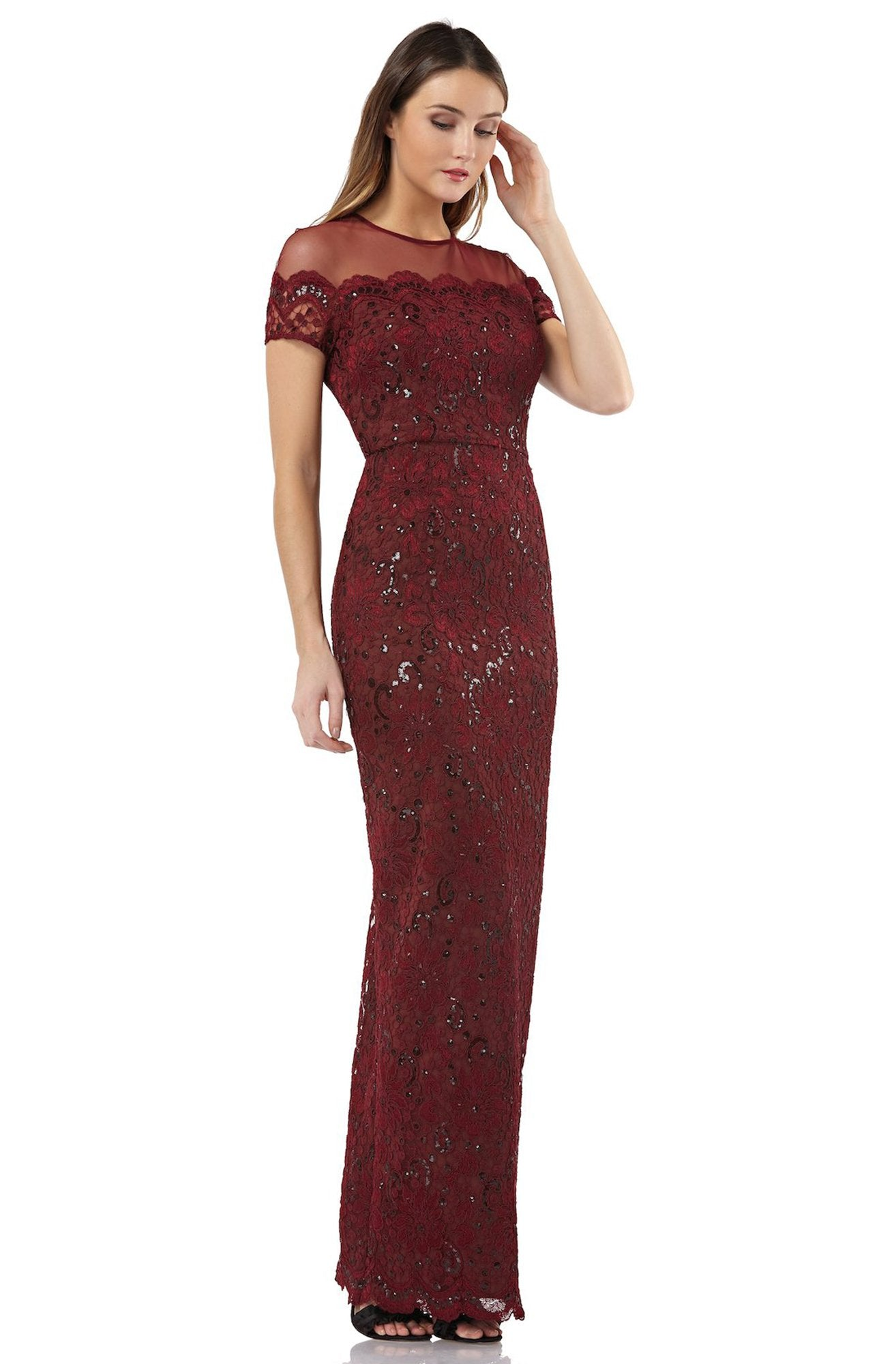 JS Collections - 866648 Illusion Floral Lace Embroidered Mesh Dress In Red