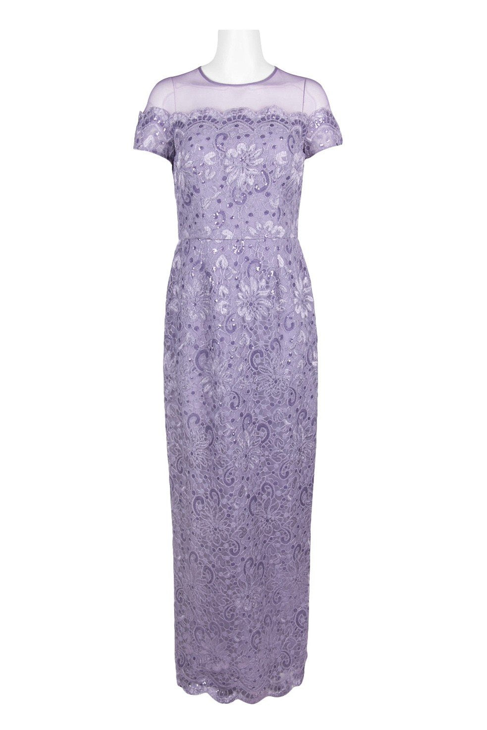 JS Collections - 866648 Illusion Floral Lace Embroidered Mesh Dress In Purple