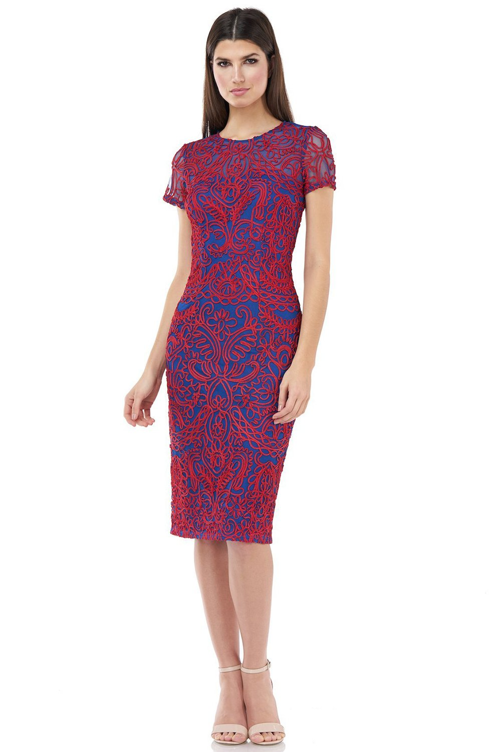 JS Collections - 866902 Embroidered Jewel Cocktail Dress In Red and Blue