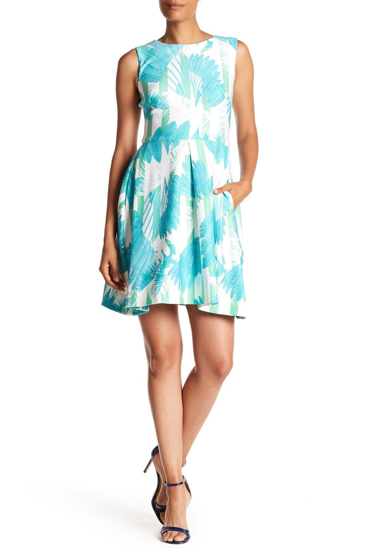 Taylor - 9766MJ Sleeveless Palm Print Pleated Dress In Blue and Print