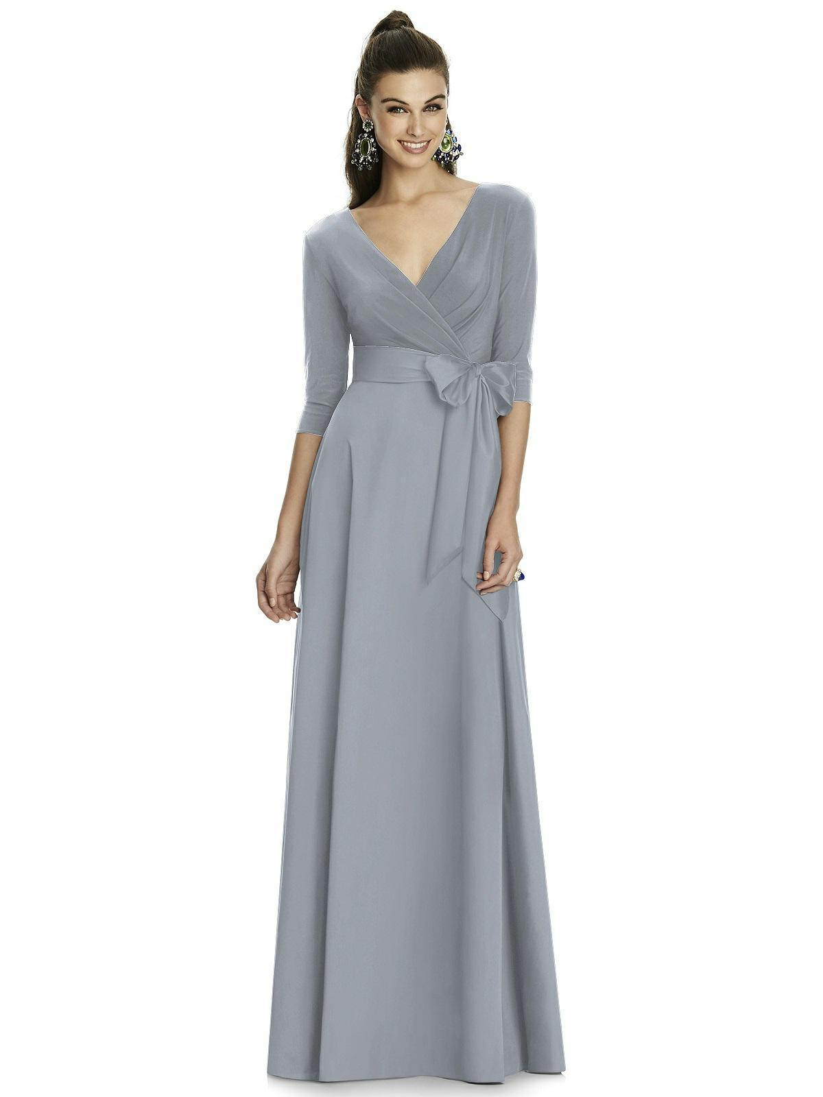 Alfred Sung - D736 Quarter Sleeve V Neck Long Formal Dress with Sash In Silver and Gray