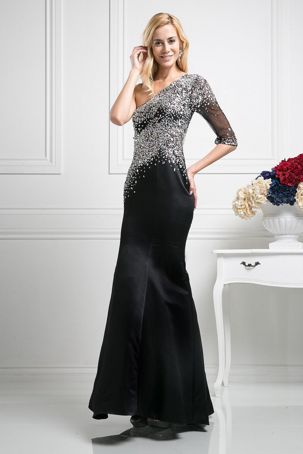Cinderella Divine - 8789 Beaded Asymmetric Neck One Shoudler Trumpet Dress In Black