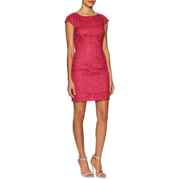 Aidan Mattox - 151A12340 Cap Sleeve Cutout Back Lace Dress in Pink