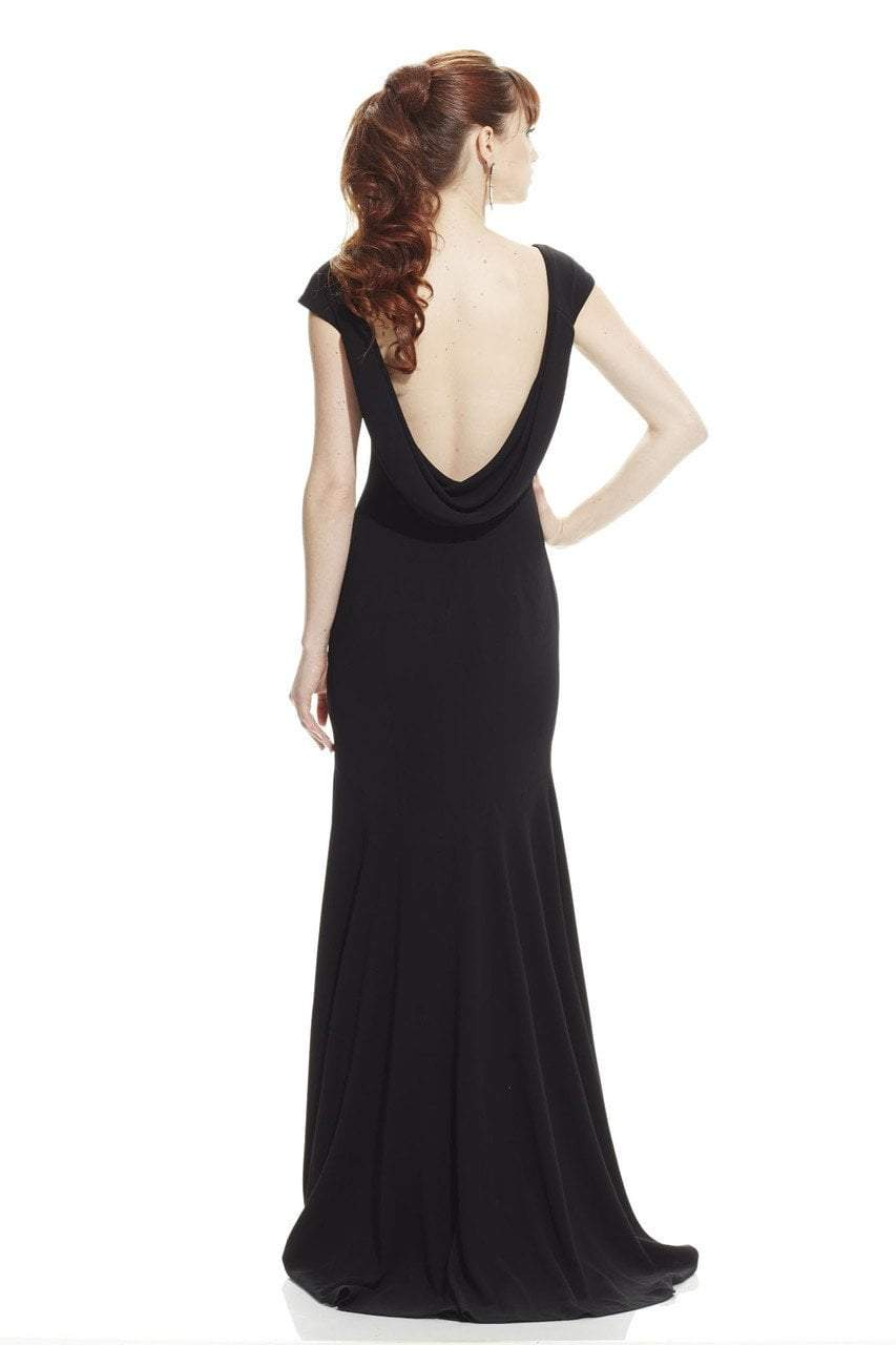 Theia V-Neck Cowl Back Stretch Evening Gown 882820 In Black