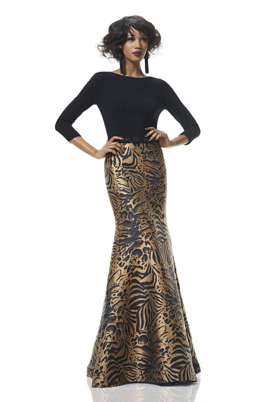 Theia - 882946 Animal Print Trumpet Dress in Black and Gold