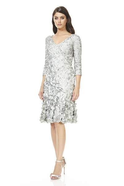 Theia - Quarter Sleeve Petal Ornate A-Line Cocktail Dress 883099 In Gray