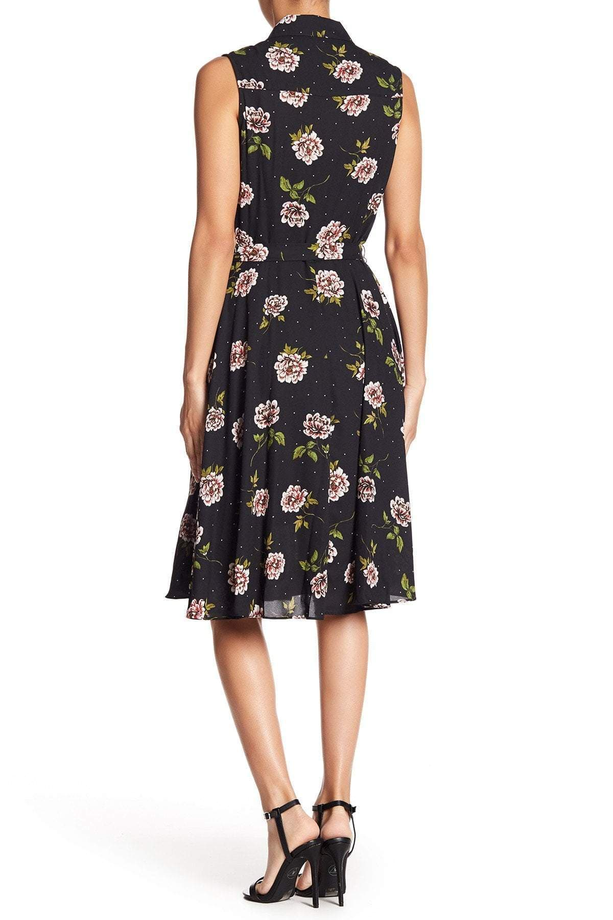 Nanette Nanette Lepo - NM8S171J3 Pleated Floral Print A-line Dress In Black
