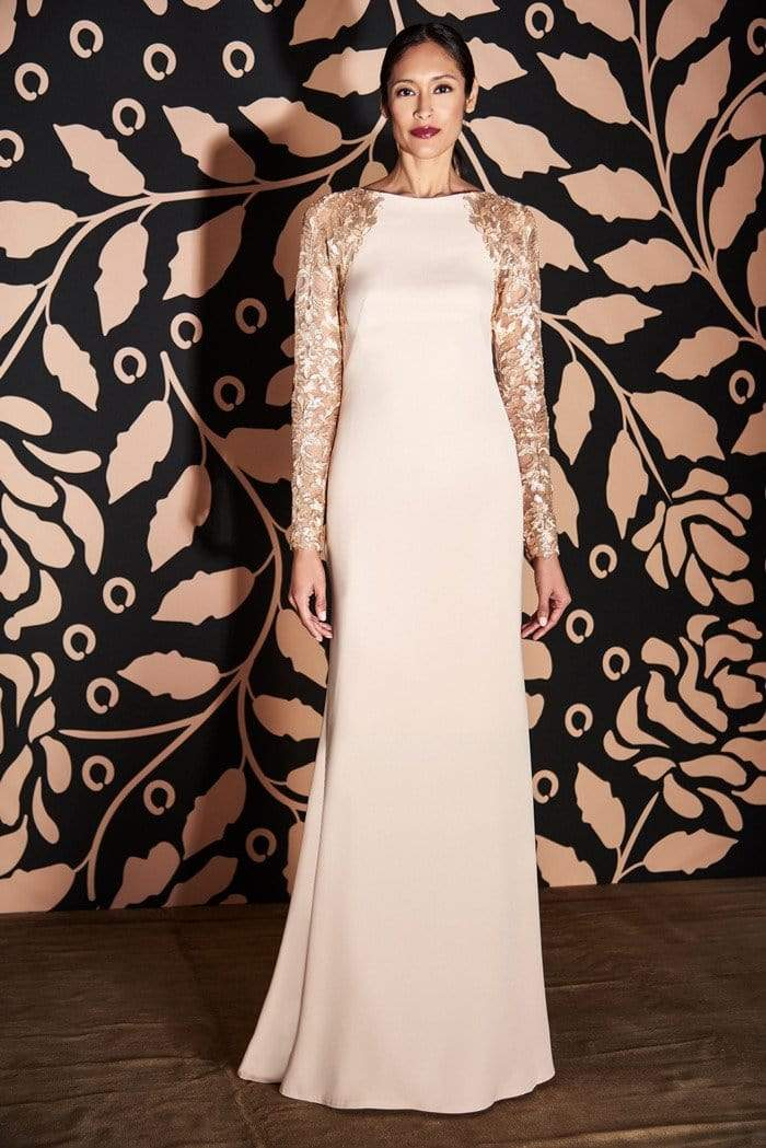 Tadashi Shoji - Sheer Lace Long Sleeve Long Crepe Gown Mother of the Bride Dresses 0 / Champagne