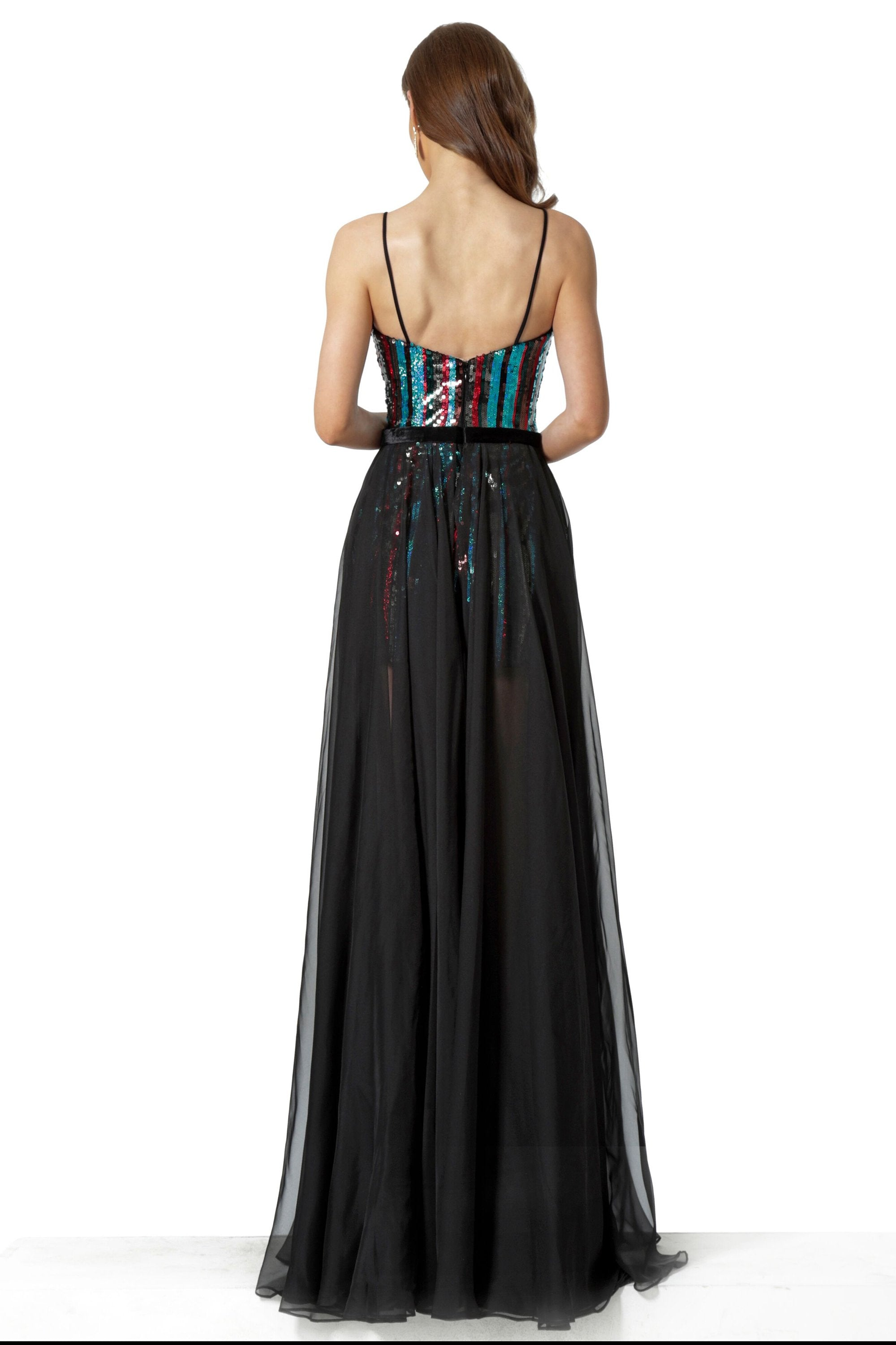 Jovani - 66297 Sequined Sweetheart A-line Dress In Black and Multi