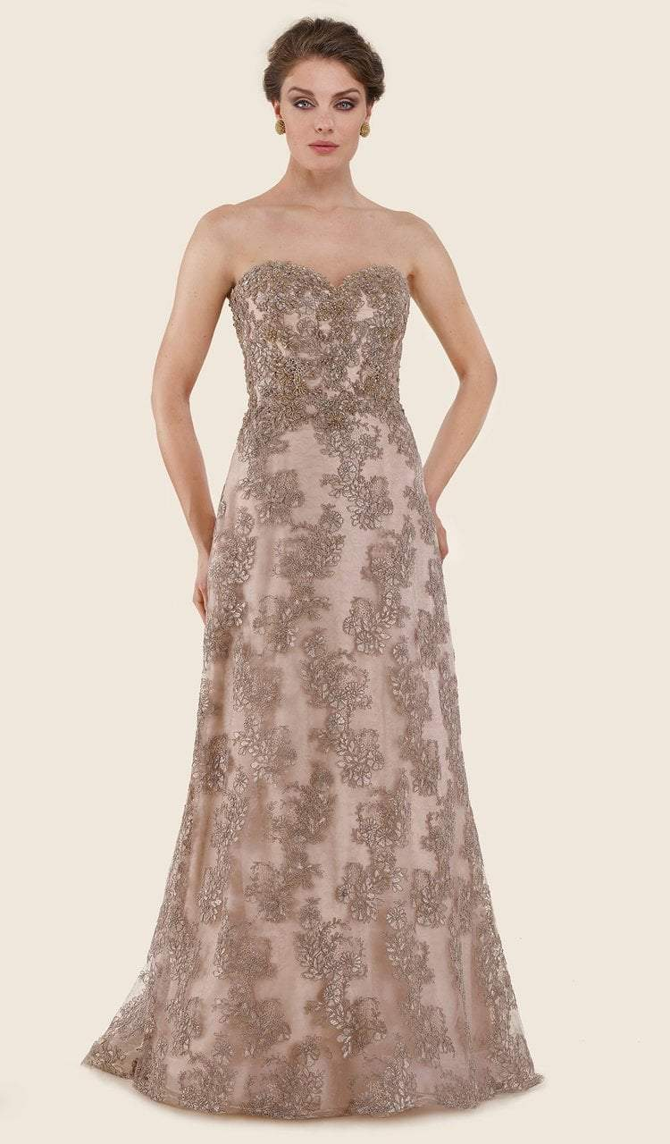 Rina Di Montella - RD2627 Strapless Lace Sweetheart A-line Gown Special Occasion Dress 4 / Rose Gold
