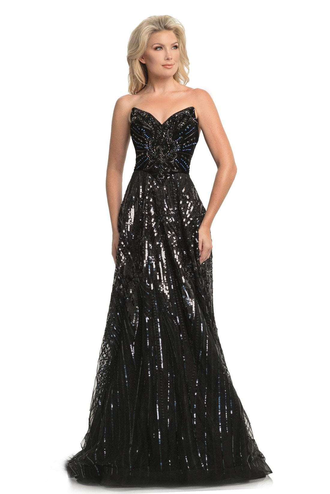 Johnathan Kayne - 9014 Strapless V-Neck Sequined A-Line Gown In Black