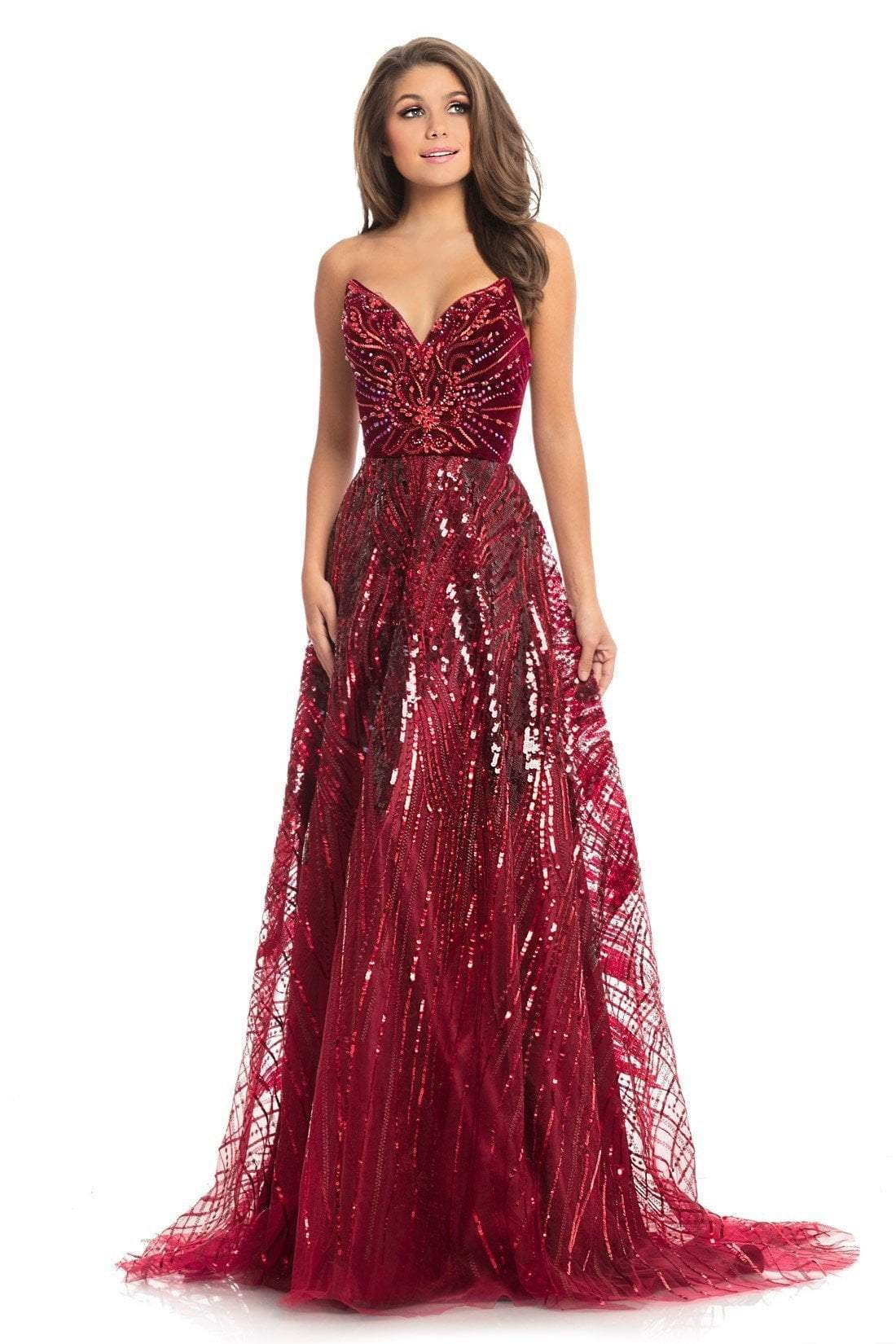 Johnathan Kayne - 9014 Strapless V-Neck Sequined A-Line Gown In Red