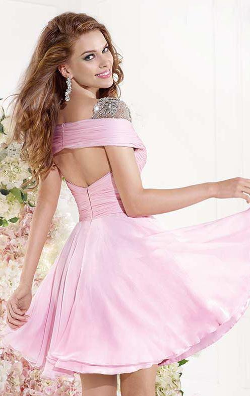 Tarik Ediz - V-Neck A-Line Dress 90386 in Pink