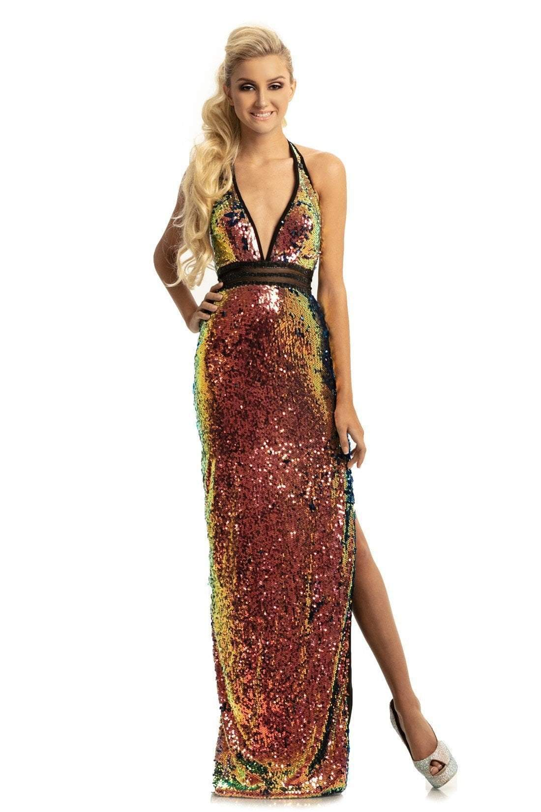 Johnathan Kayne - 9062 Sequined Plunging Halter Gown with Slit In Pink