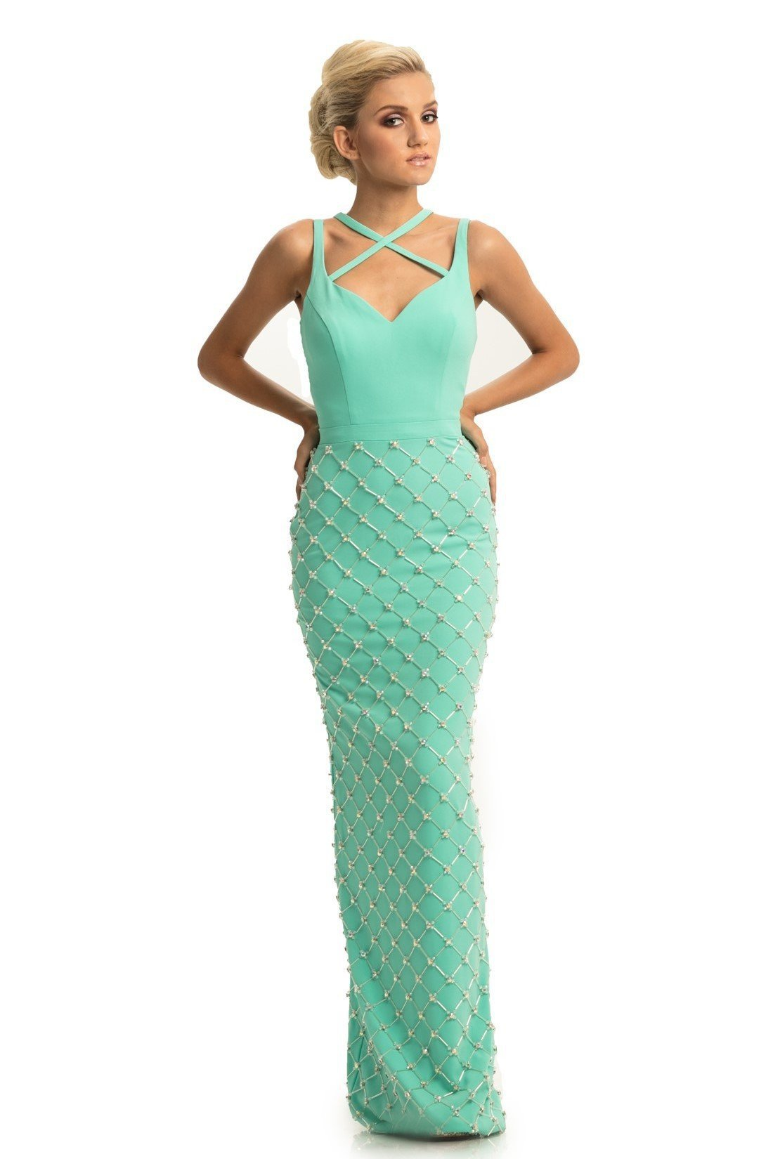 Johnathan Kayne - 9064 Beaded Sheath Dress With Back Slit In Green