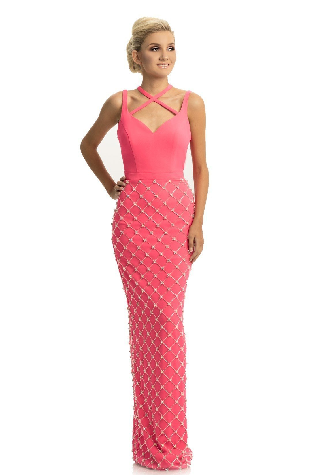 Johnathan Kayne - 9064 Beaded Sheath Dress With Back Slit In Pink