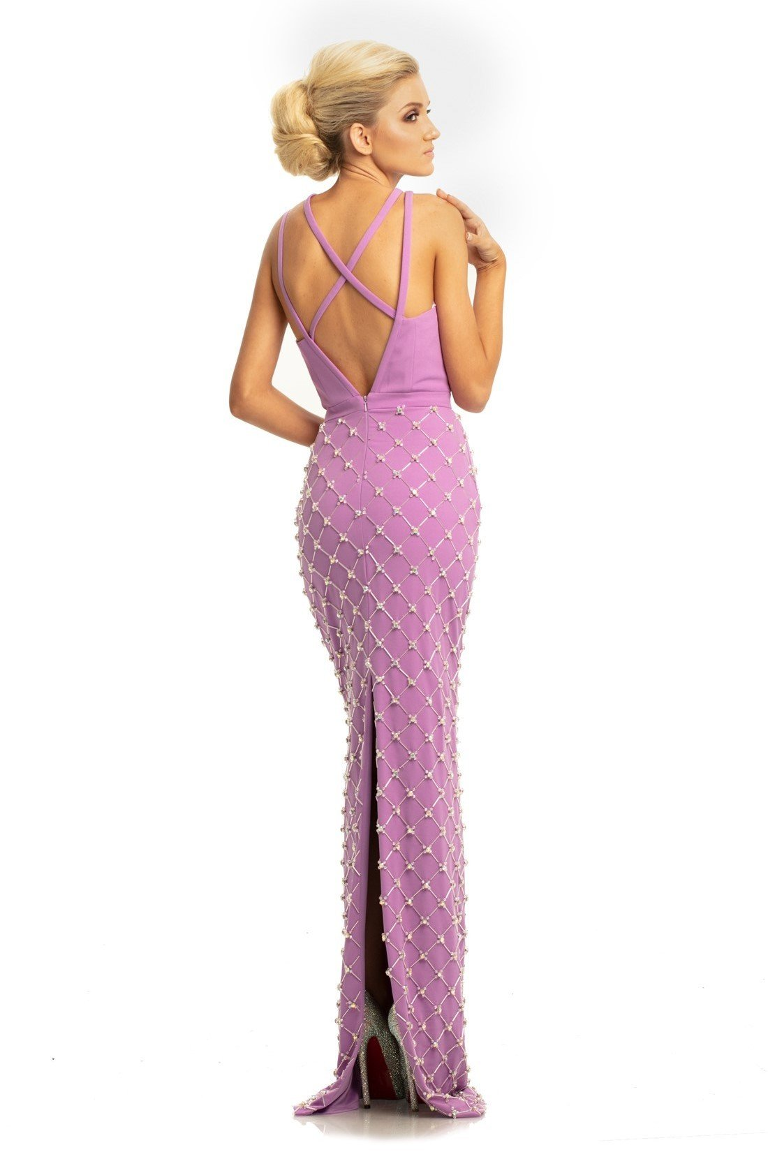 Johnathan Kayne - 9064 Beaded Sheath Dress With Back Slit In Purple