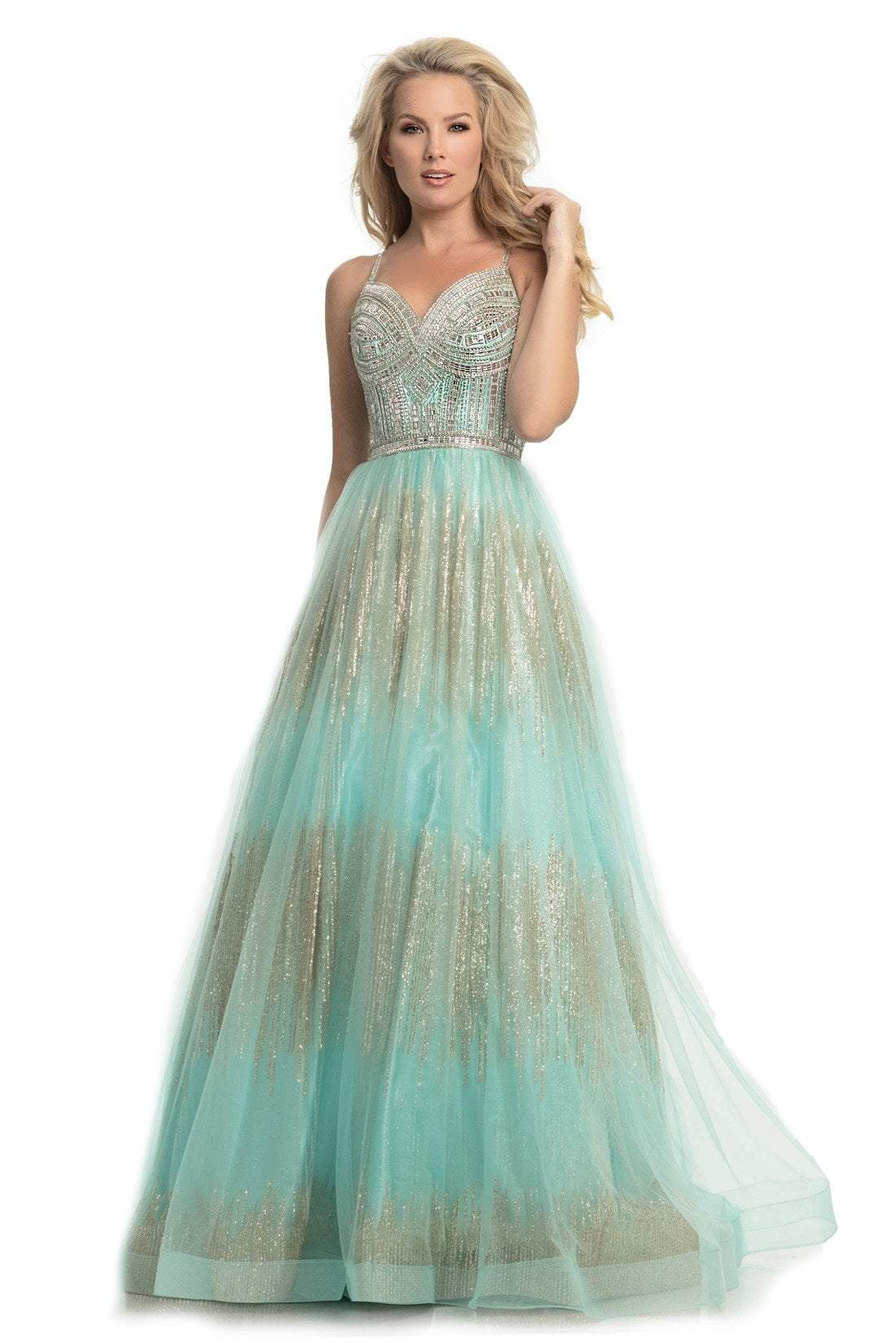 Johnathan Kayne - 9067 Sleeveless Sparkly Glitter Mesh A-Line Gown In Green and Gold
