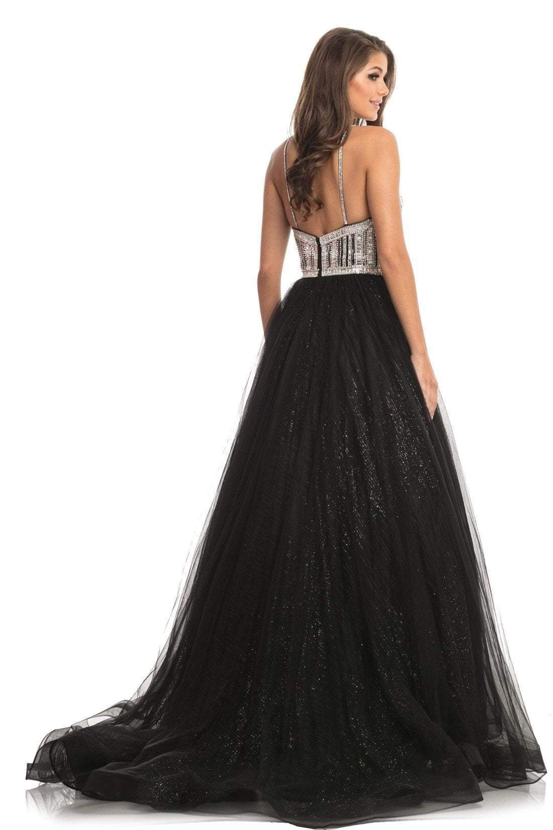 Johnathan Kayne - 9067 Sleeveless Sparkly Glitter Mesh A-Line Gown In Black and Silver
