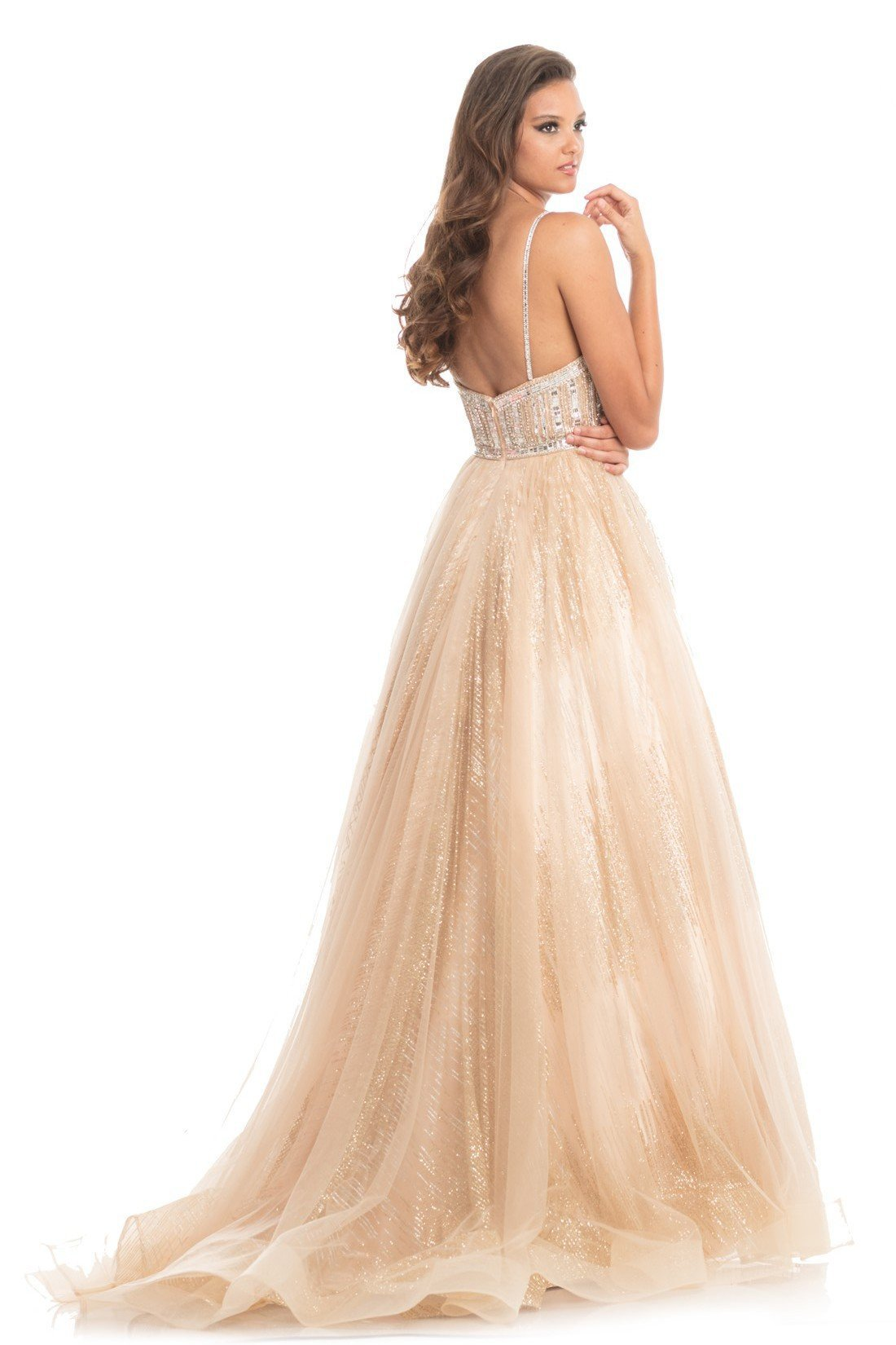 Johnathan Kayne - 9067 Sleeveless Sparkly Glitter Mesh A-Line Gown In Neutral