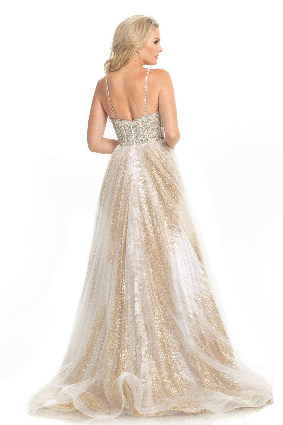 Johnathan Kayne - 9067 Sleeveless Sparkly Glitter Mesh A-Line Gown In White and Gold
