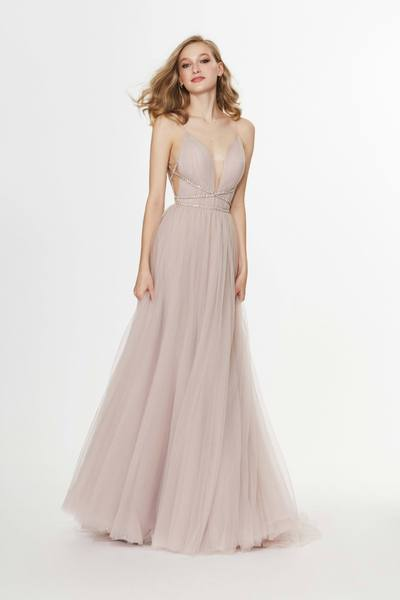 Angela & Alison - 91036 Rhinestone Criscross Waistband Illusion Plunging Soft Net Gown In Neutral and Pink