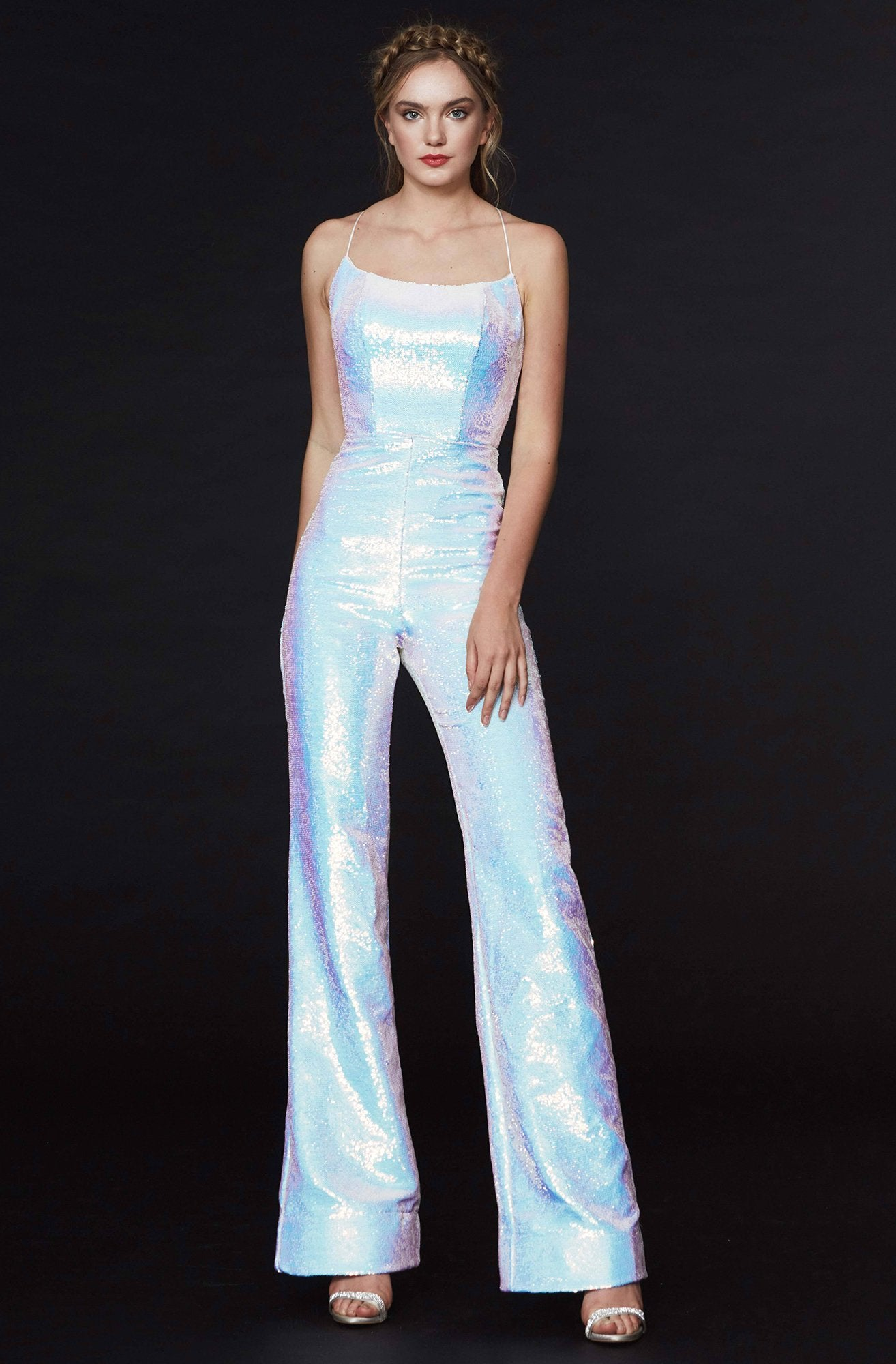 Angela & Alison - 91050 Allover Sequined Scoop Neck Open Back Jumpsuit In White