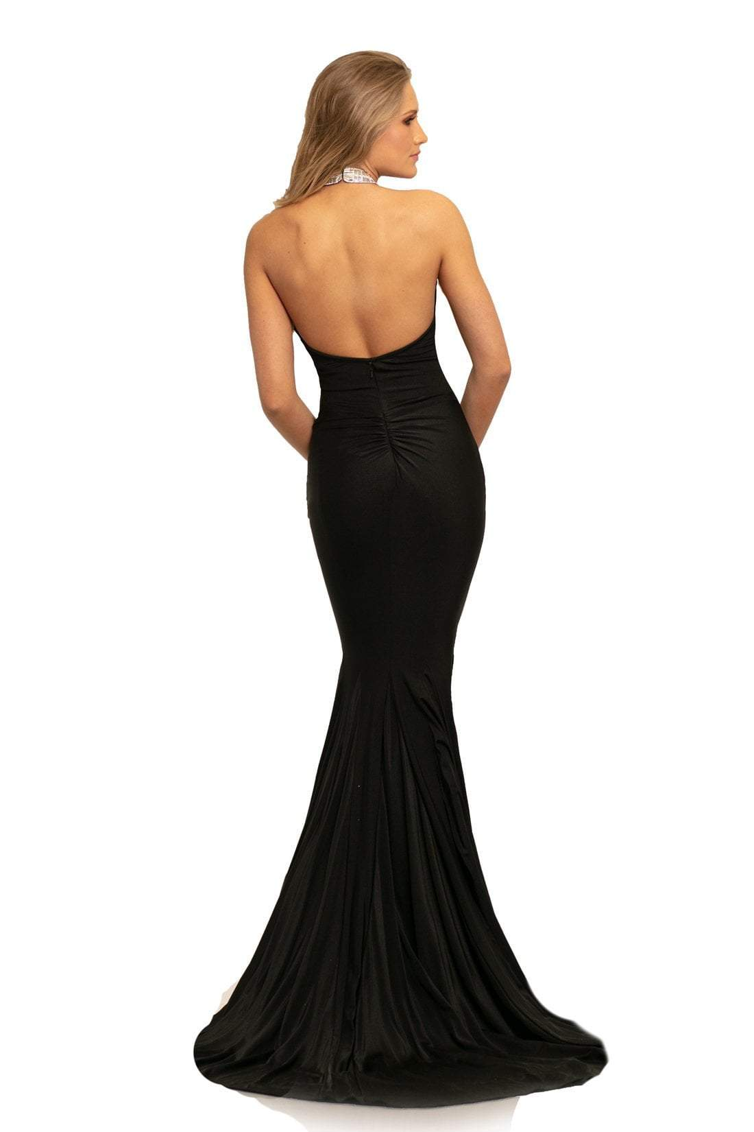 Johnathan Kayne - 9212 Fitted High Halter Mermaid Evening Gown In Black