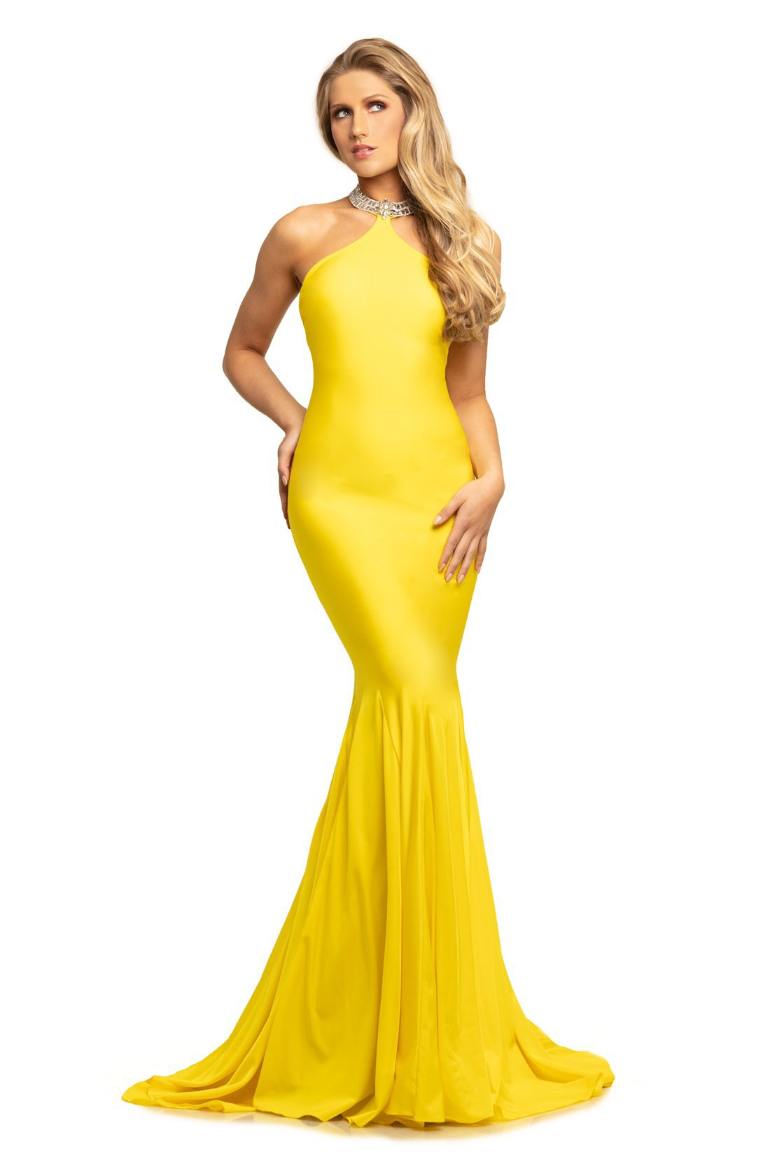 Johnathan Kayne - 9212 Fitted High Halter Mermaid Evening Gown In Yellow