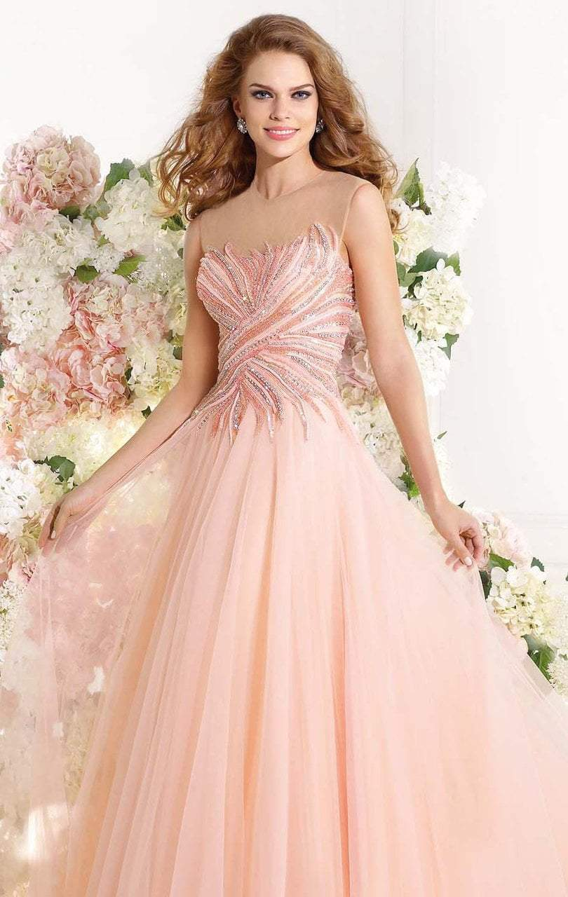 Tarik Ediz - MTE92323 Illusion Ornate Feathered Tulle Gown In Pink