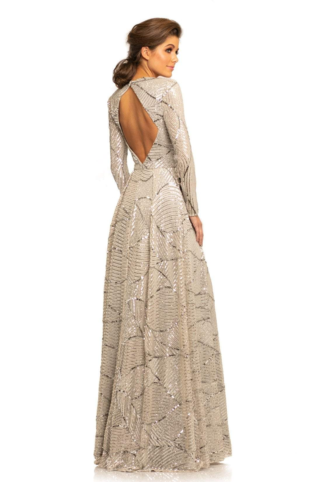 Johnathan Kayne - 9250 Queen Anne Long Sleeves Column Gown In Gray and Silver