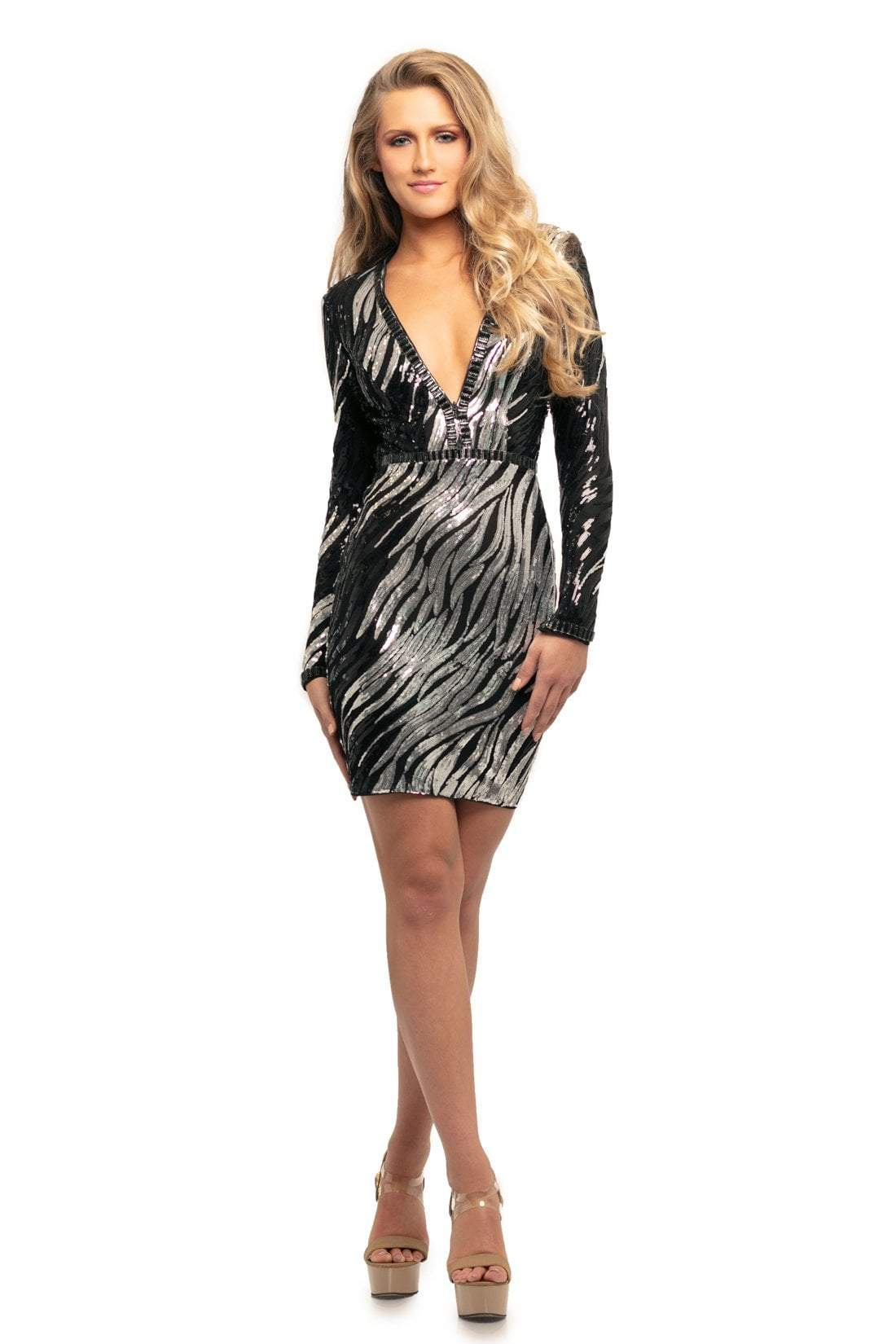 Johnathan Kayne - 9254 Sequined Zebra Design Cocktail Dress In Black and Silver