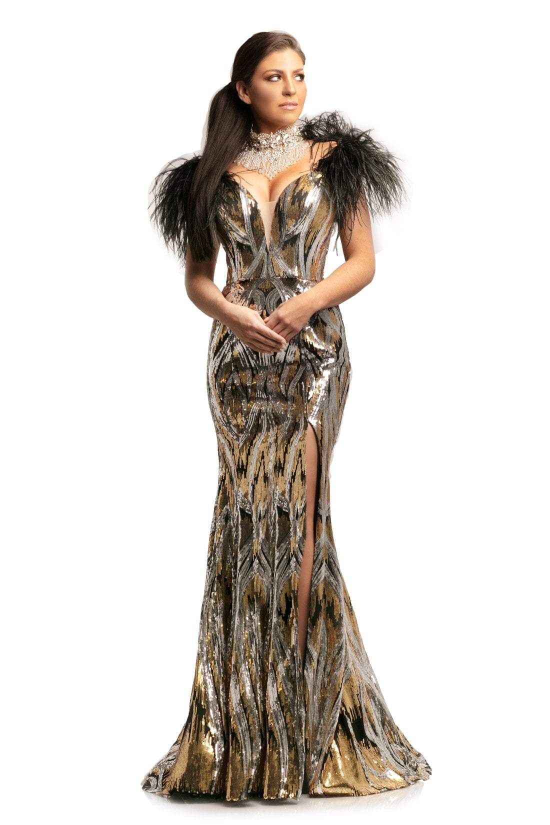 Johnathan Kayne - 9256 Sequined Deep V-neck Mermaid Dress In Black and Gold