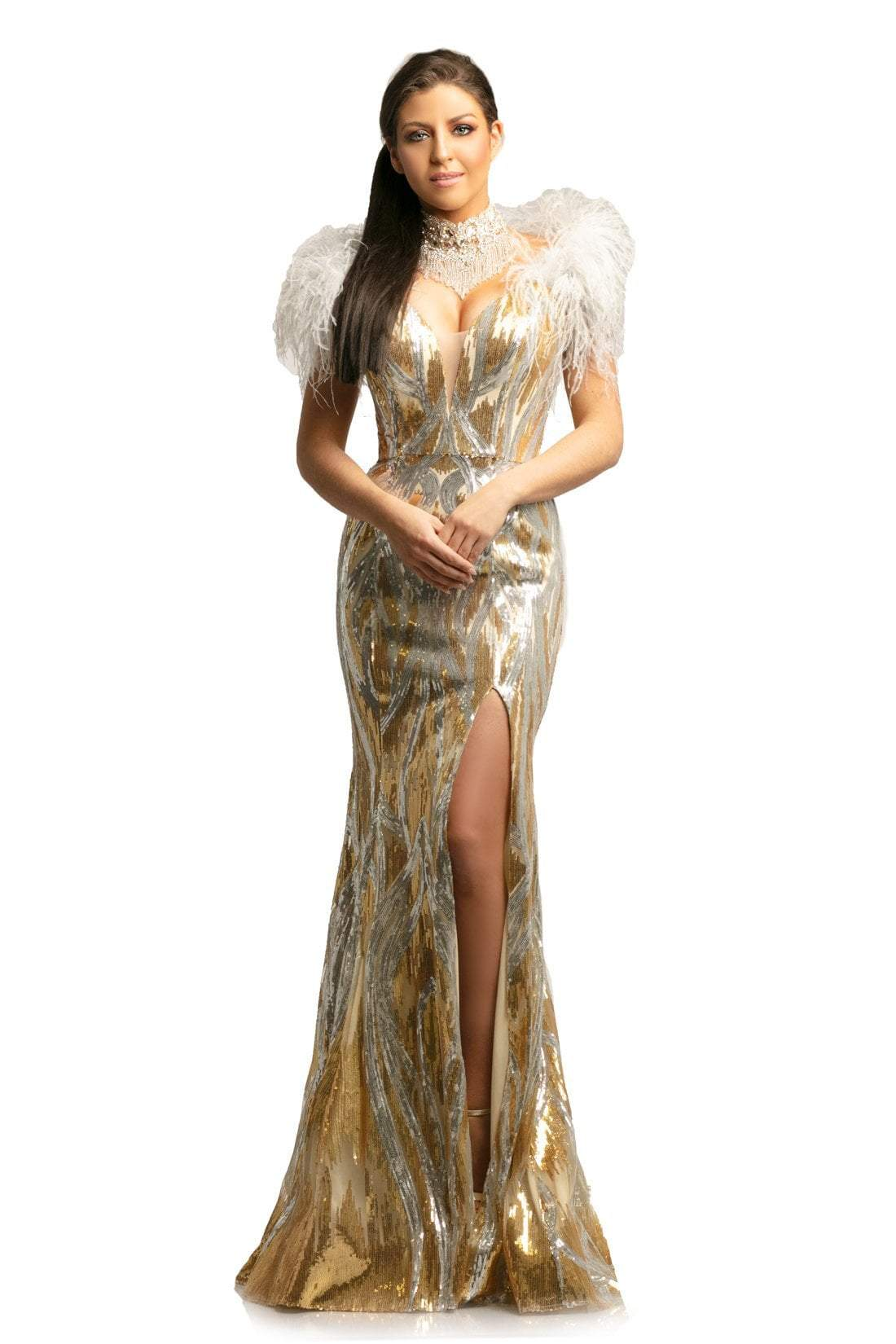 Johnathan Kayne - 9256 Sequined Deep V-neck Mermaid Dress In Neutral and Gold