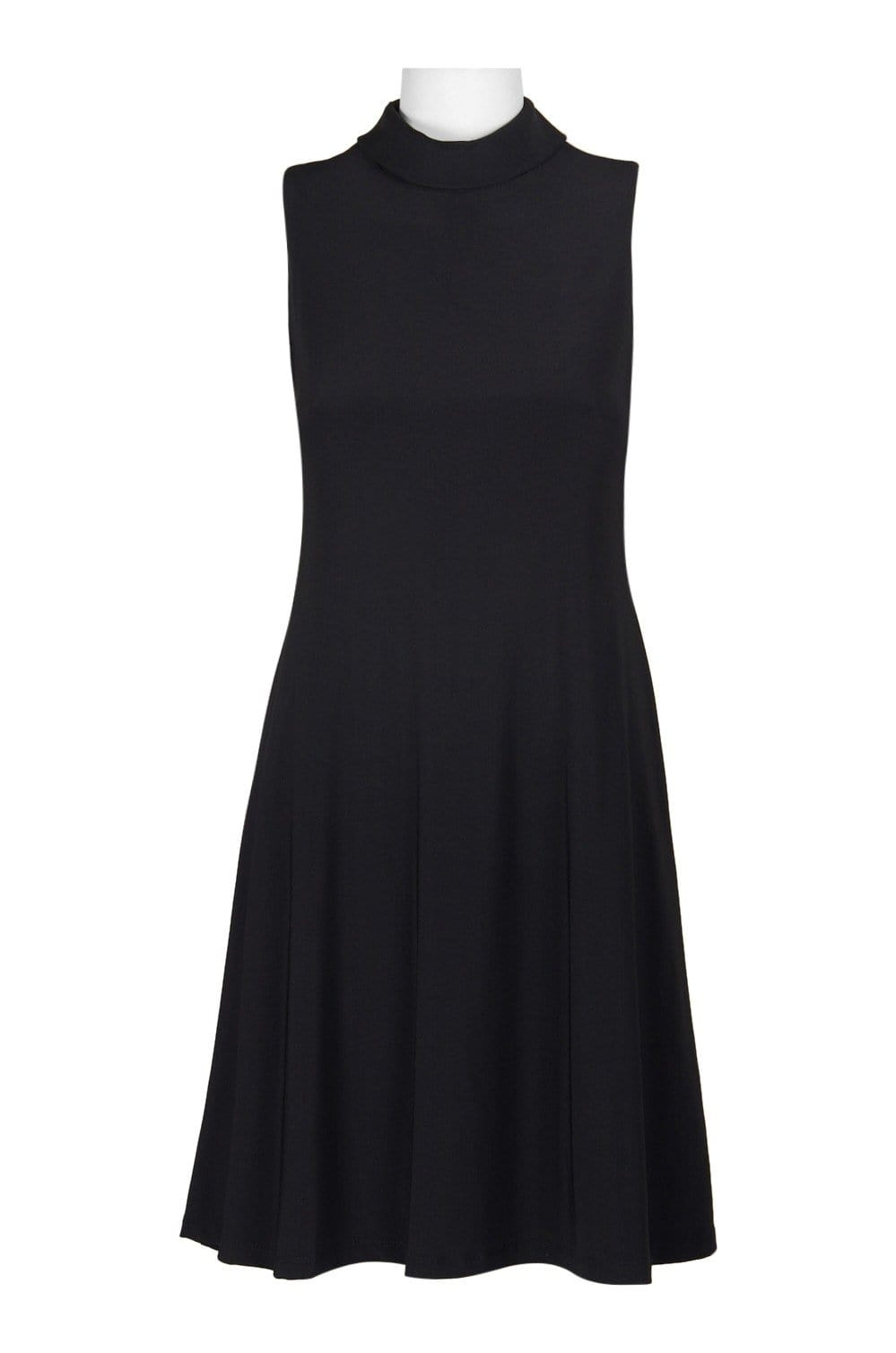 Taylor - 9256M Turtle Neck Cutout Back A-Line Dress In Black
