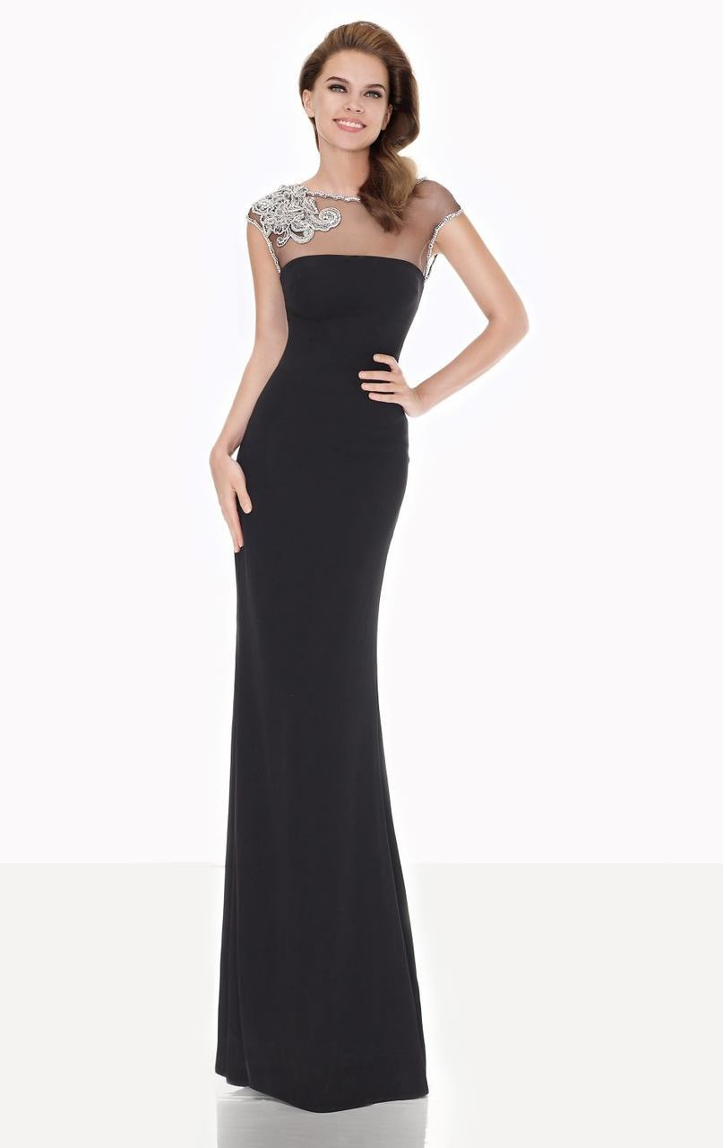 Tarik Ediz - Illusion Sheath Gown 92618 in Black