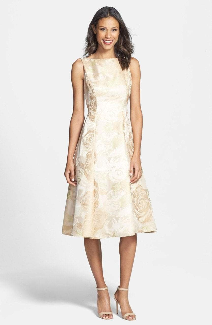 Adrianna Papell - 41889270 Tea-Length Jacquard Floral Print Dress in Neutral