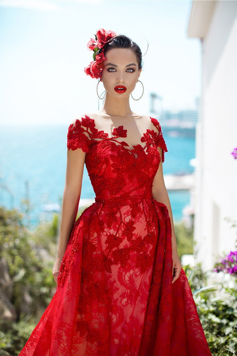 Tarik Ediz - 93627 Lace Embroidered Dress With Detachable Train In Red