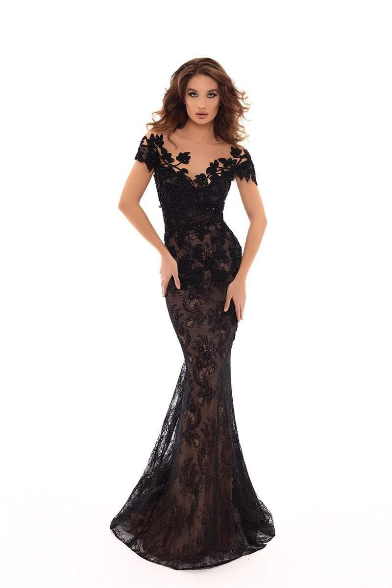 Tarik Ediz - 93627 Lace Embroidered Dress With Detachable Train In Black