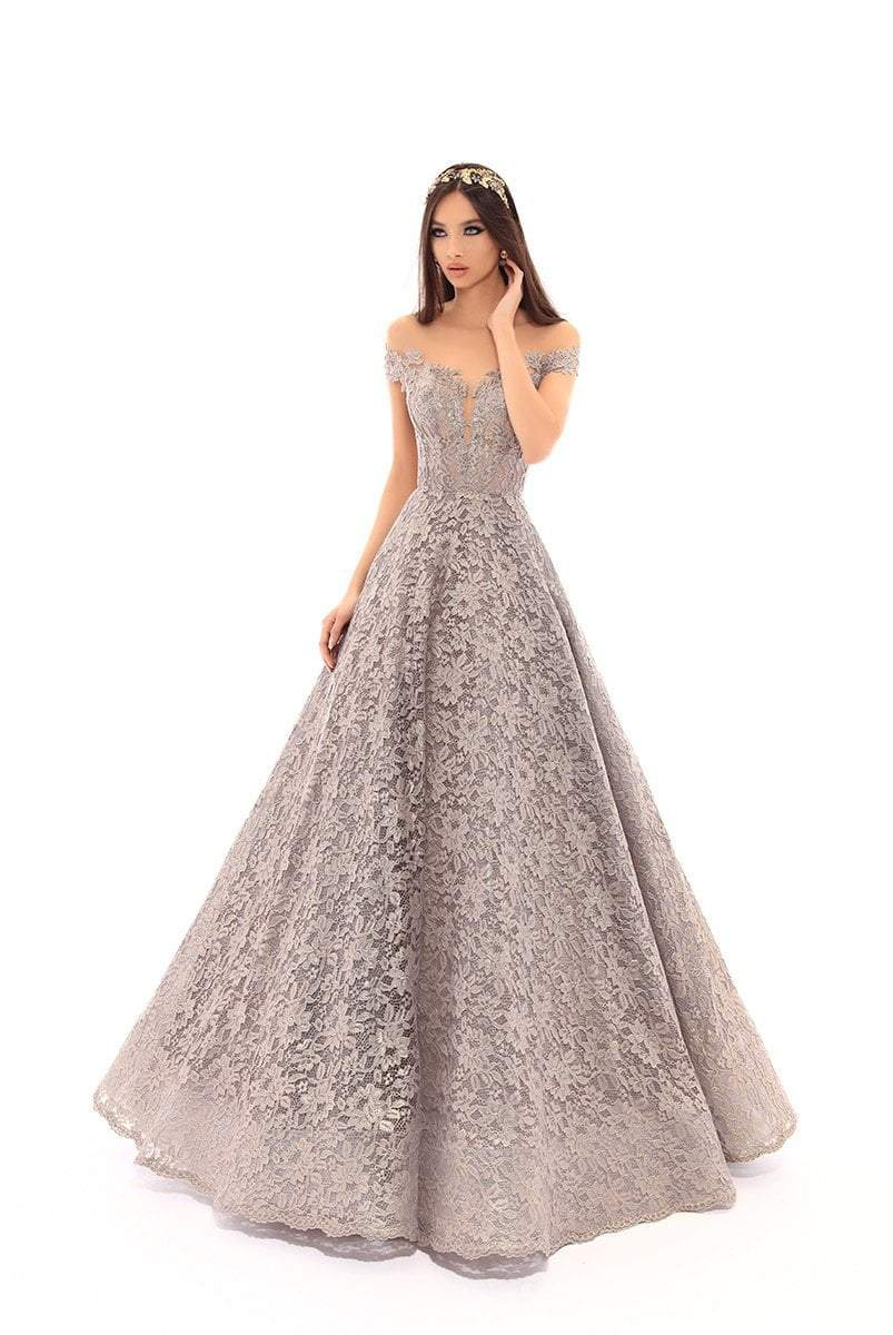Tarik Ediz - 93639 Floral Lace Illusion Pleated Ballgown In Blue and Gray